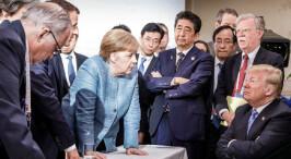 """G7峰会一张图火遍网络 六国领袖""""围战""""特朗普"""
