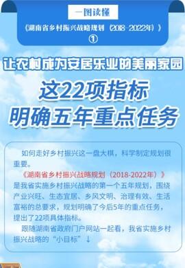 《湖南省乡村振兴战略规划》图解之一|这22项指标明确五年重点任务