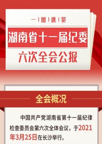一圖速覽丨湖南省十一屆紀委六次全會公報