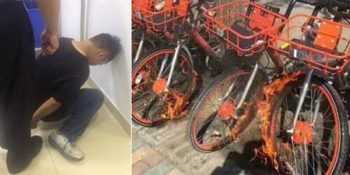 上海共享单车遭恶意纵火 嫌犯已被控制