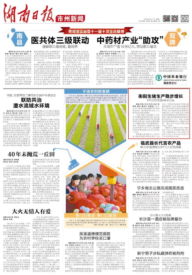 【湖南日报】衡阳生猪生产稳步增长 3月出栏生猪49.4万头