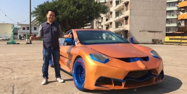 草根男纯手工打造跑车 耗时3年花费8万元