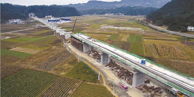 建设中的水沙坪二号特大桥:重点工程重质量