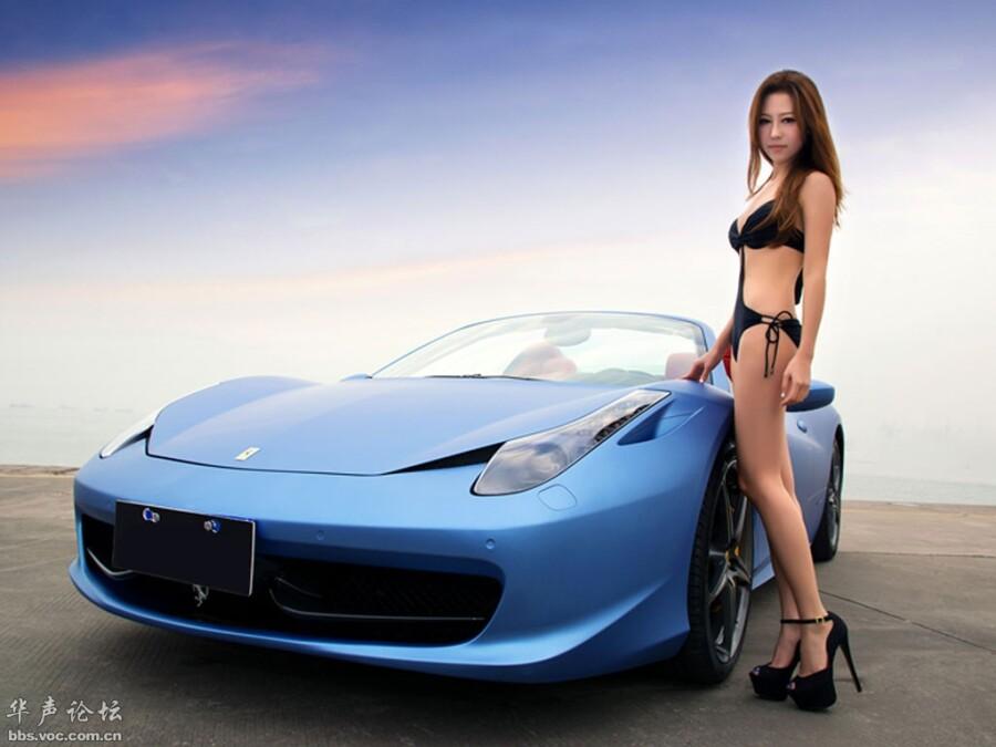 法拉利458比基尼美女性感车模 美女人体艺术