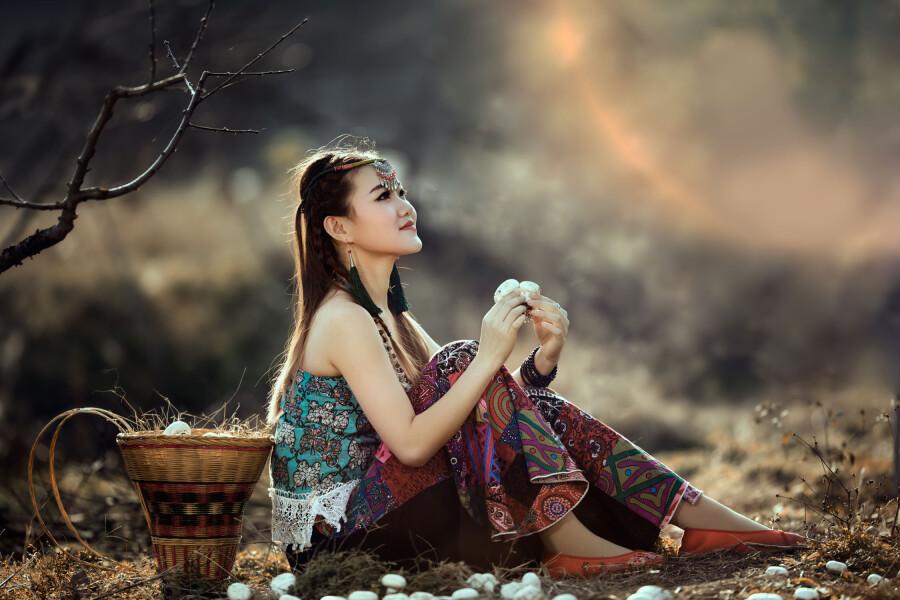 【现代时尚素材篇】采蘑菇的小姑娘 - 浪漫人生 - .